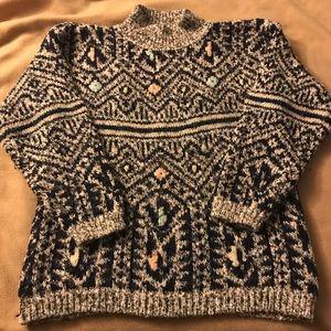 T.Q. Vintage Sweater - Navy/Black/Pink Sz. M